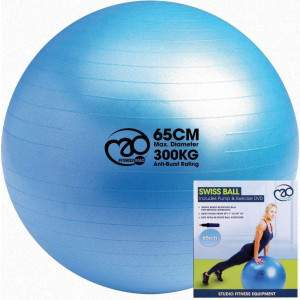 Fitness Mad 300Kg Anti-Burst Swiss Ball & Pump/DVD by Podium 4 Sport