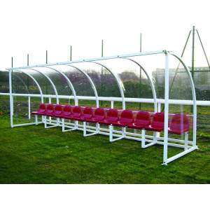 Harrod Socketed Curved Team Shelter 6m Red by Podium 4 Sport