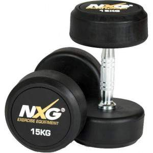 NXG Rubber Dumbbell Pair 15kg by Podium 4 Sport