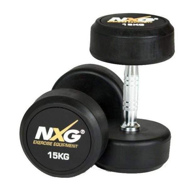 NXG Rubber Dumbbell Pair 15kg by Podium 4 Sport