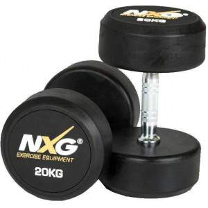 NXG Rubber Dumbbell Pair 20kg by Podium 4 Sport