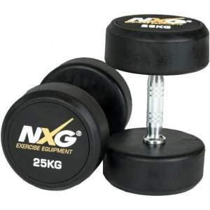 NXG Rubber Dumbbell Pair 25kg by Podium 4 Sport