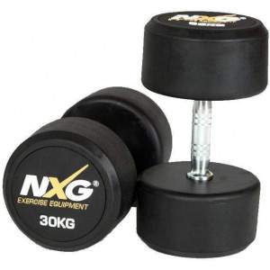 NXG Rubber Dumbbell Pair 30kg by Podium 4 Sport