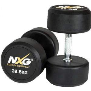 NXG Rubber Dumbbell Pair 32.5kg by Podium 4 Sport