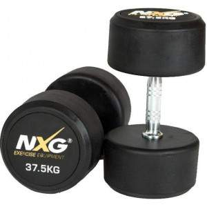 NXG Rubber Dumbbell Pair 37.5kg by Podium 4 Sport
