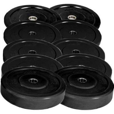 NXG 150kg Black Bumper Plate Set by Podium 4 Sport